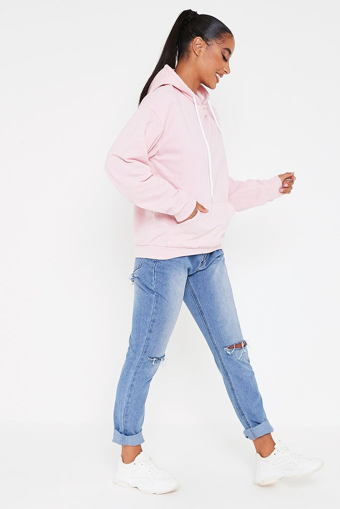 Baby Pink Basic Casual Hoodie view 3
