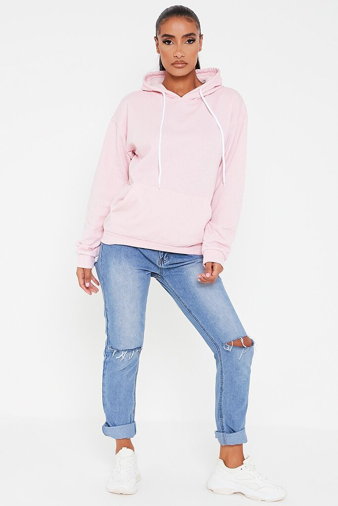 Baby Pink Basic Casual Hoodie view 2