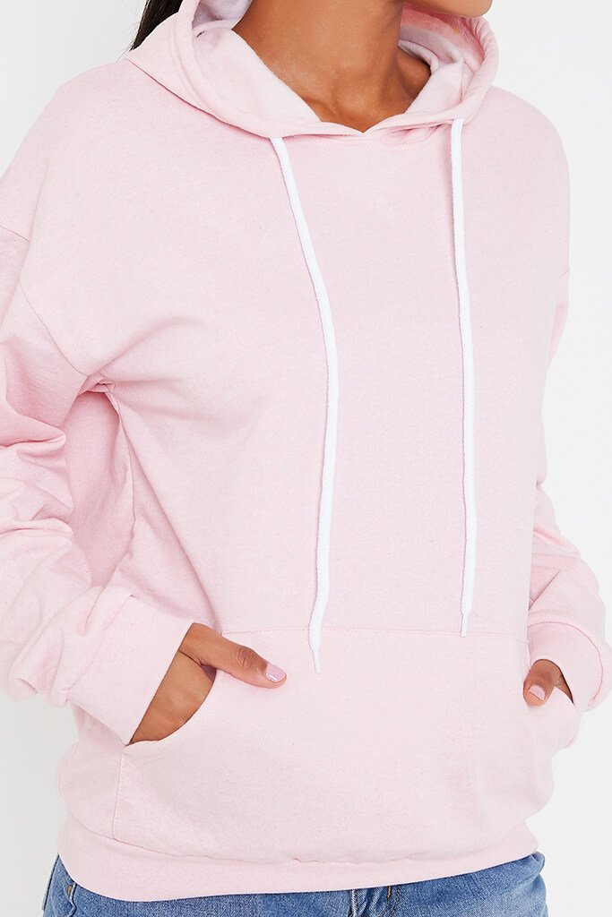 Baby Pink Basic Casual Hoodie view 4