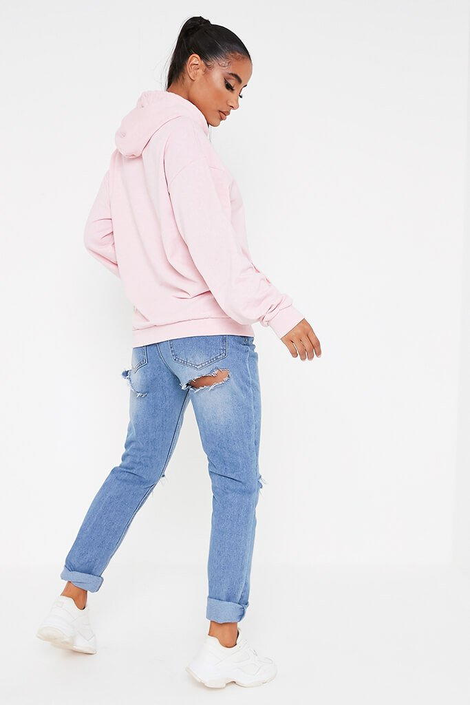 Baby Pink Basic Casual Hoodie view 5