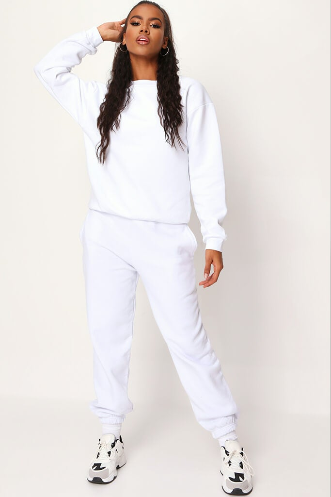 White Basic Joggers view main view