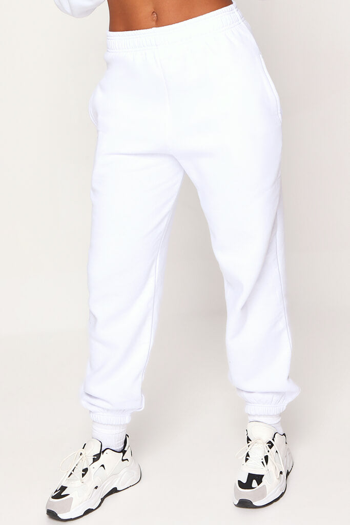 White Basic Joggers view 2