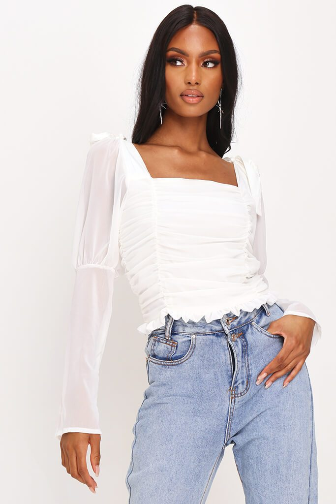 White Tie Shoulder Puff Sleeve Top view main view