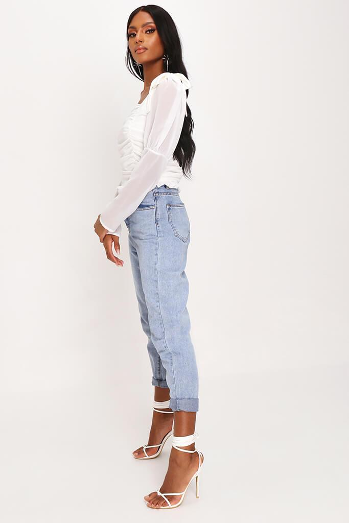 White Tie Shoulder Puff Sleeve Top view 3