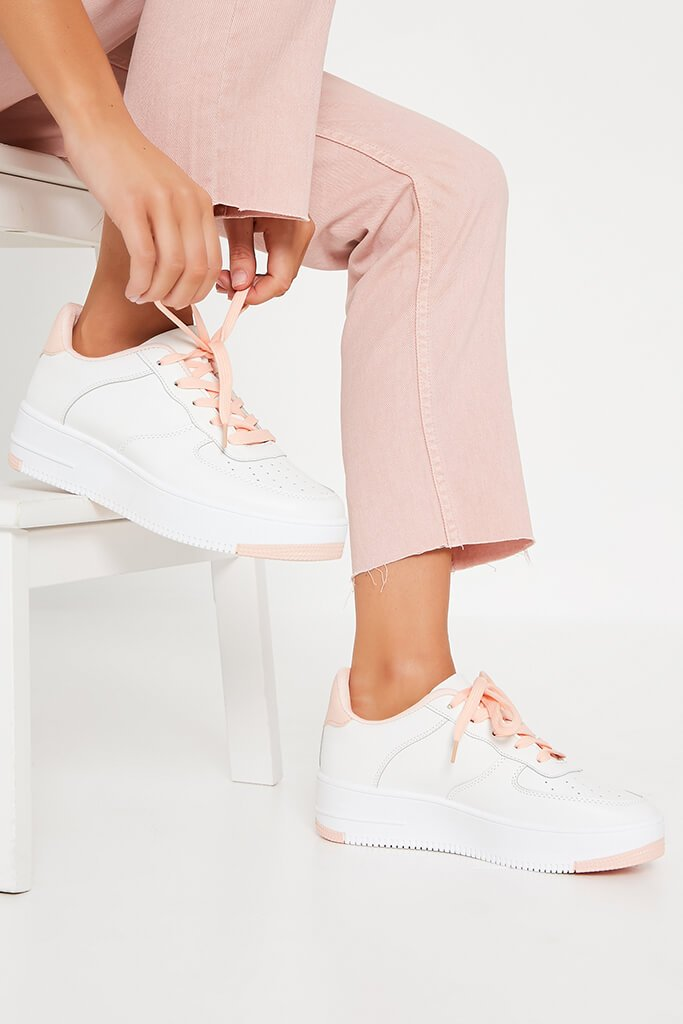Baby Pink Block Colour Trainer