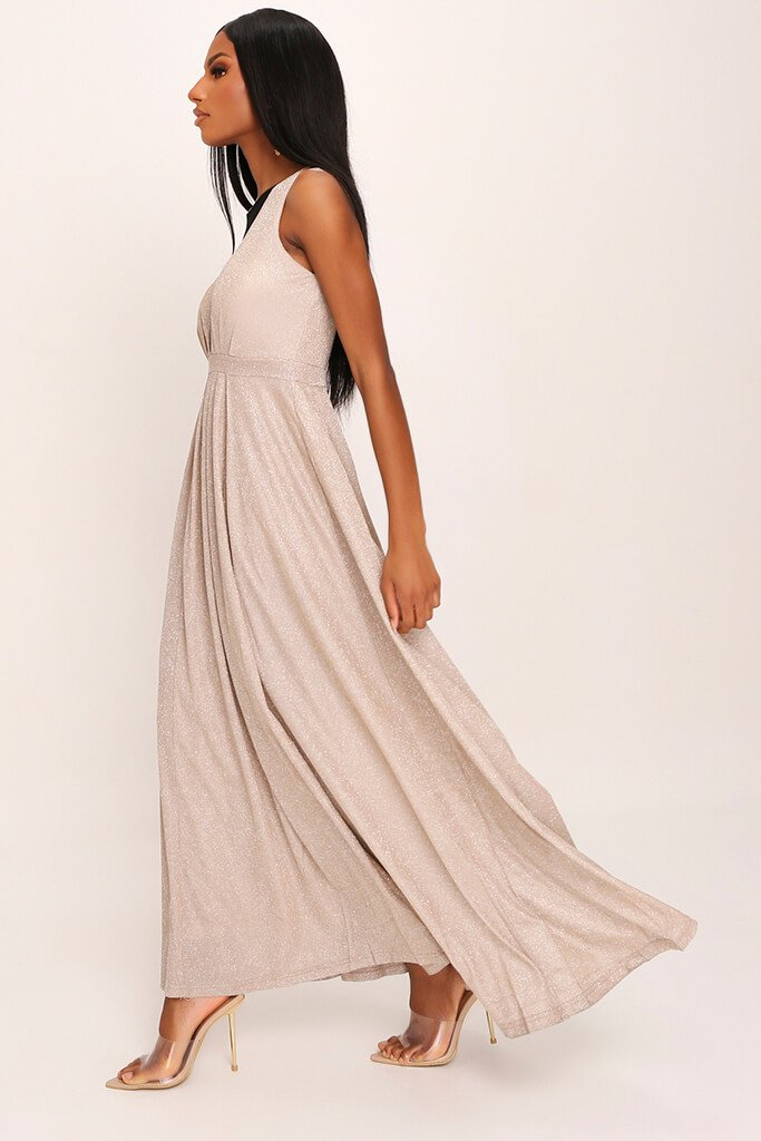 Nude Premium Plunge Sparkle Maxi Dress view 3