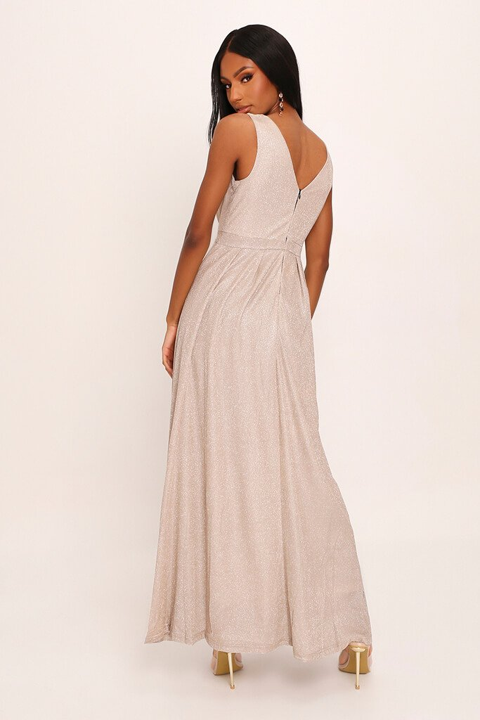 Nude Premium Plunge Sparkle Maxi Dress view 5