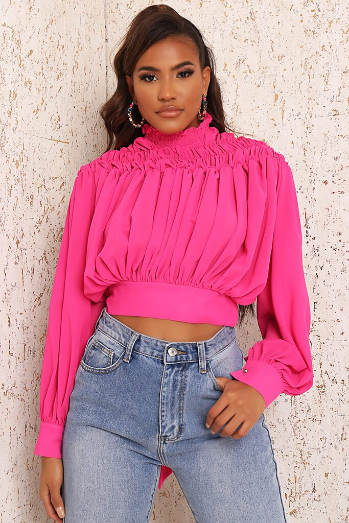 Pink Premium High Neck Ruched Tie Back Blouse