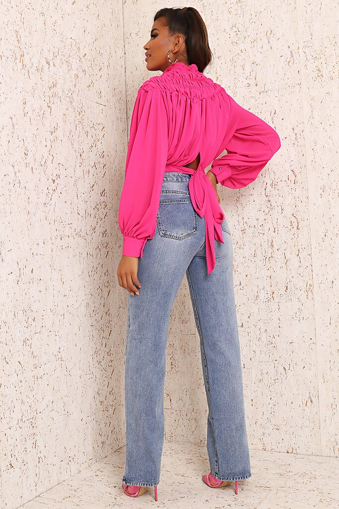Pink Premium High Neck Ruched Tie Back Blouse view 5