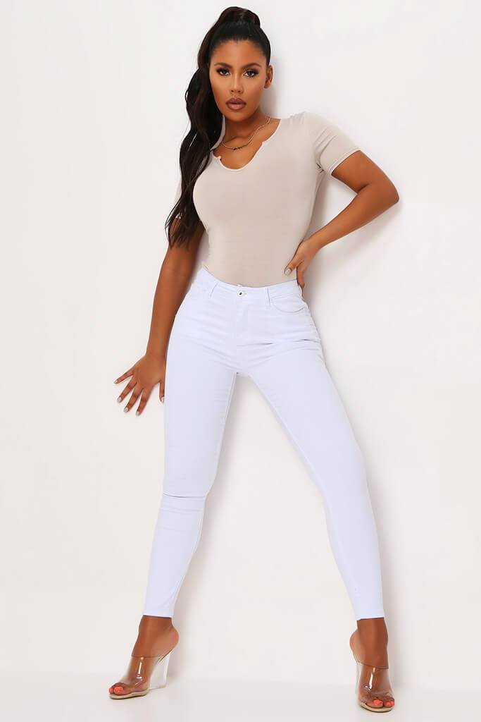 White 5 Pocket Skinny Leg Jean
