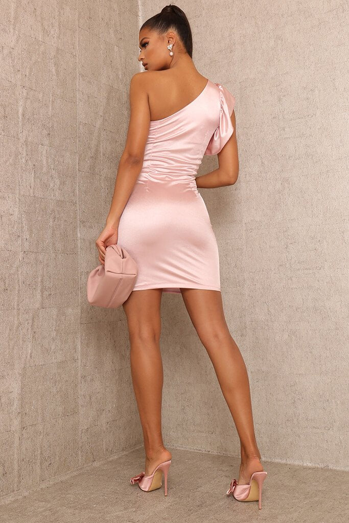 Rose Satin Ruched One Shoulder Dress view 5