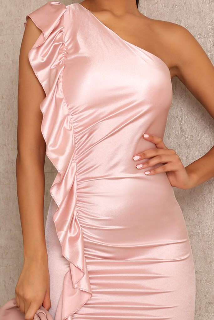 Rose Satin Ruched One Shoulder Dress view 4