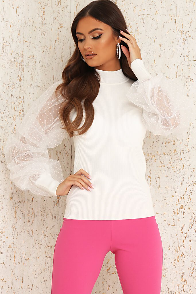White Ribbed Knitted Polka Dot Mesh Top