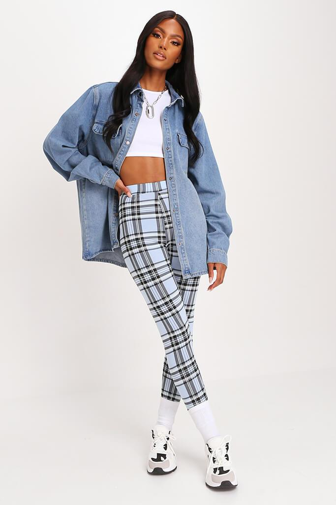 Pastel Blue Check High Waisted Legging