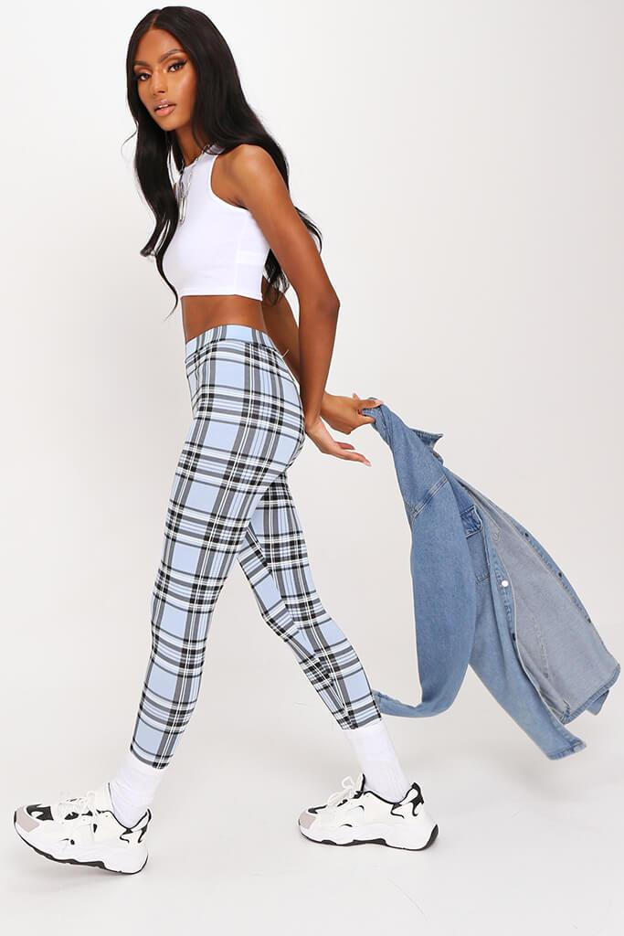 Pastel Blue Check High Waisted Legging view 3