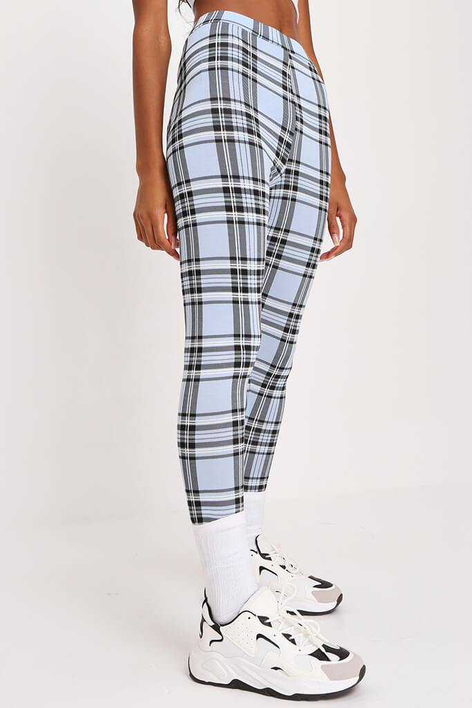 Pastel Blue Check High Waisted Legging view 2
