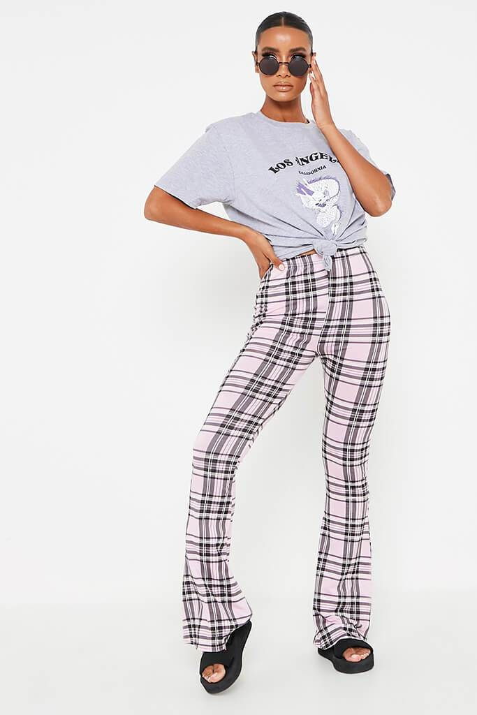 Pink Check High Waisted Flare Trouser