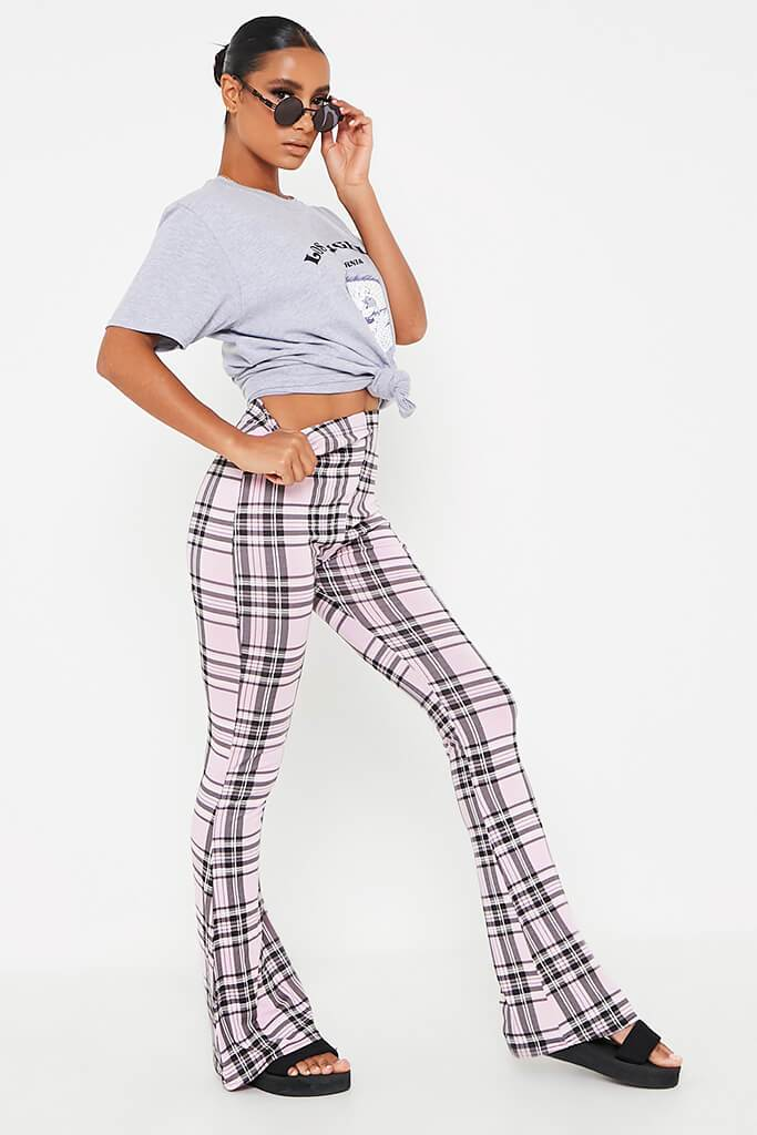 Pink Check High Waisted Flare Trouser view 3