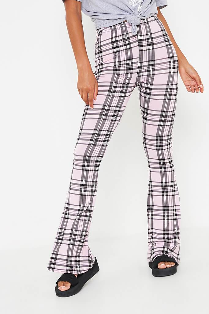 Pink Check High Waisted Flare Trouser view 2