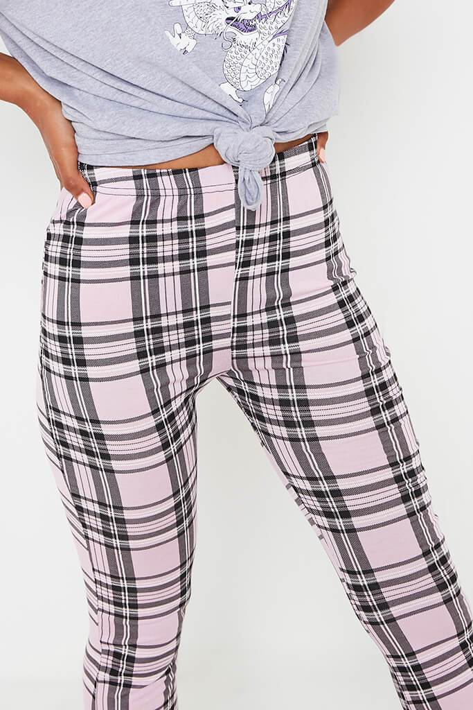 Pink Check High Waisted Flare Trouser view 4