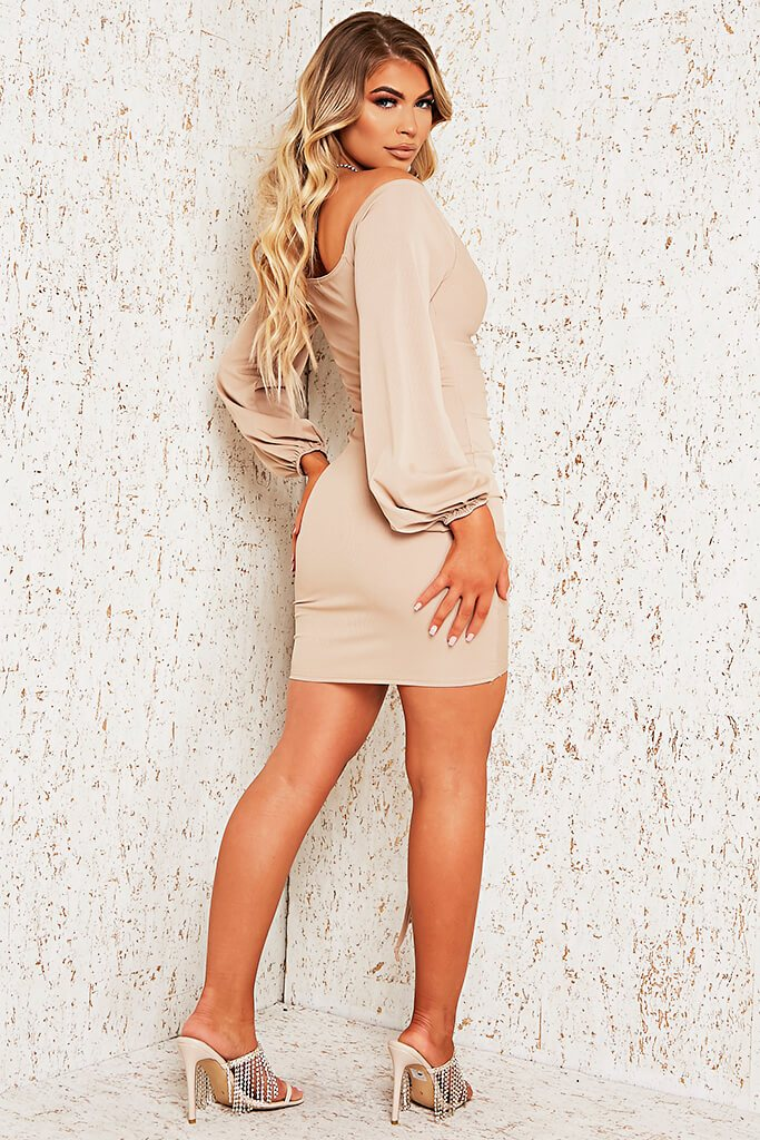 Stone Rib Bardot Ruched Front Bodycon Dress view 3