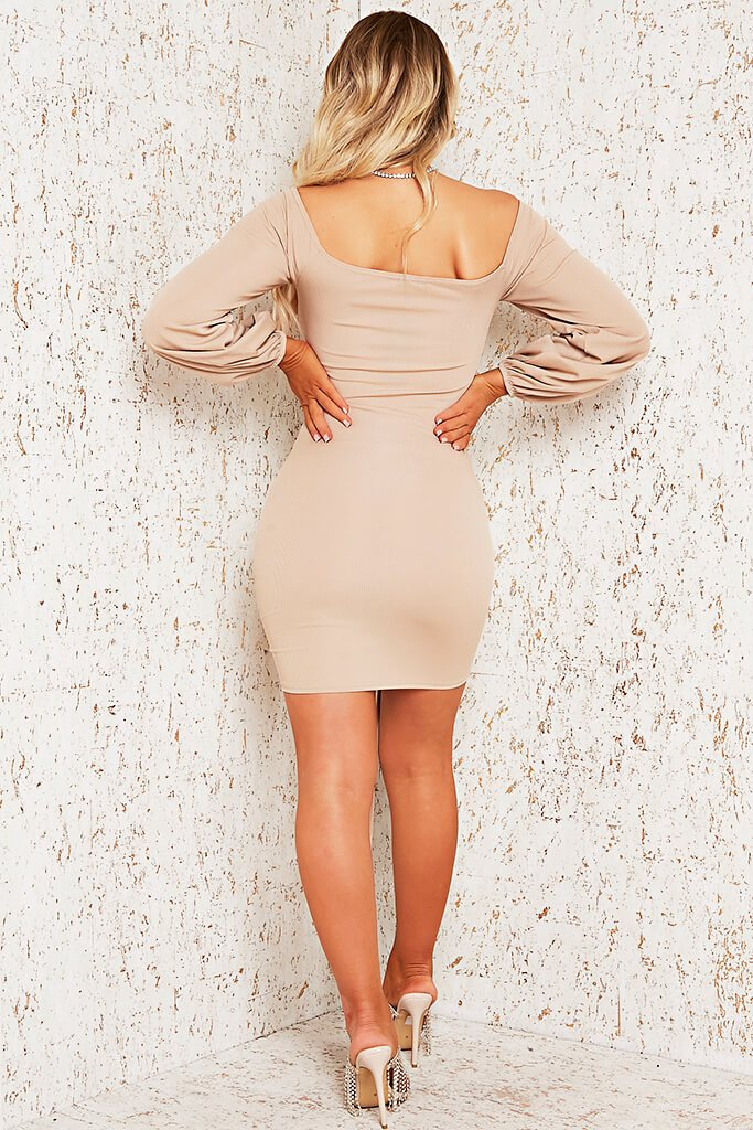Stone Rib Bardot Ruched Front Bodycon Dress view 5