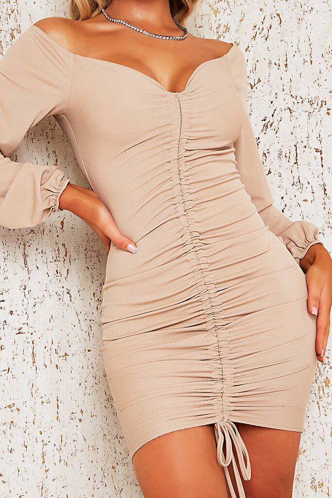 Stone Rib Bardot Ruched Front Bodycon Dress view 4