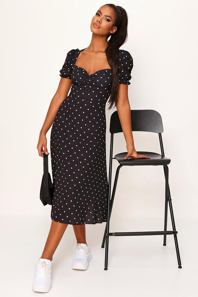 Black Woven Polka Dot Puff Sleeve Button Front Midi Dress view 2