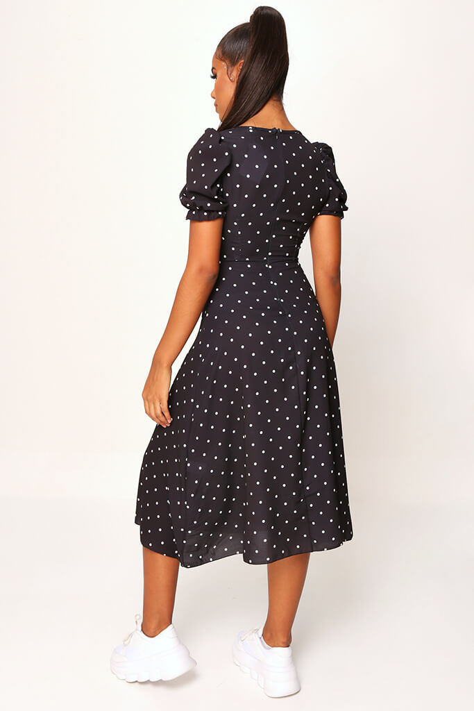 Black Woven Polka Dot Puff Sleeve Button Front Midi Dress view 5
