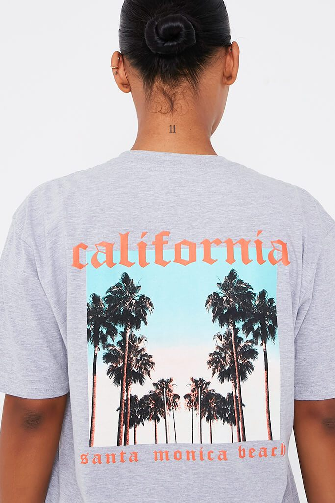 Grey California Printed Tee view 4