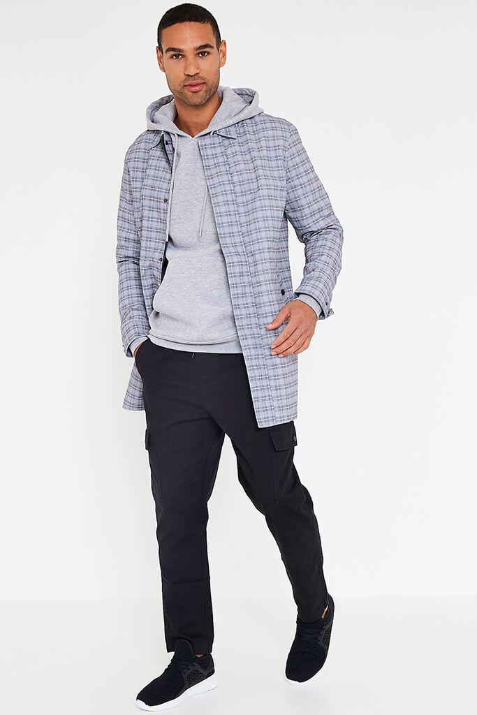 Light Grey Men's Check Shacket view main view