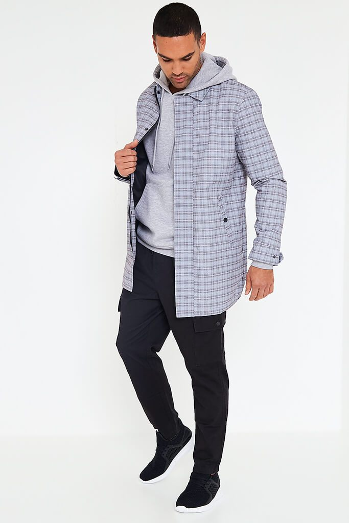Light Grey Men's Check Shacket view 3