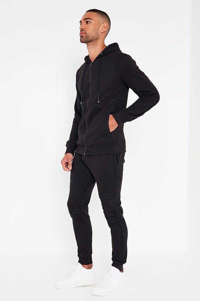 Black Mens Zip Up Hoodie And Joggers Set view 3