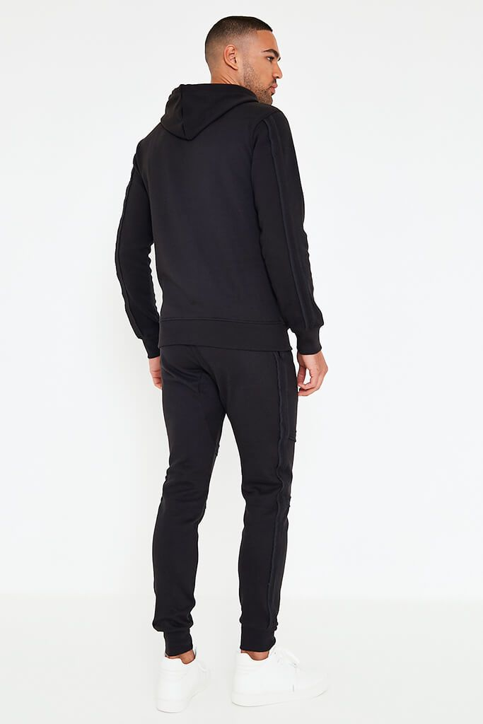 Black Mens Zip Up Hoodie And Joggers Set view 5