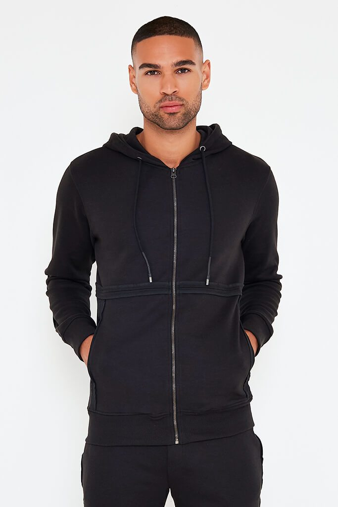 Black Mens Zip Up Hoodie And Joggers Set view 2