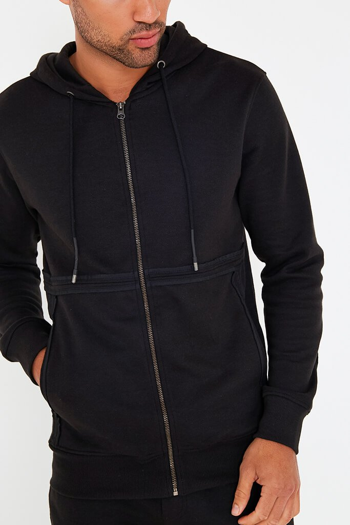 Black Mens Zip Up Hoodie And Joggers Set view 4