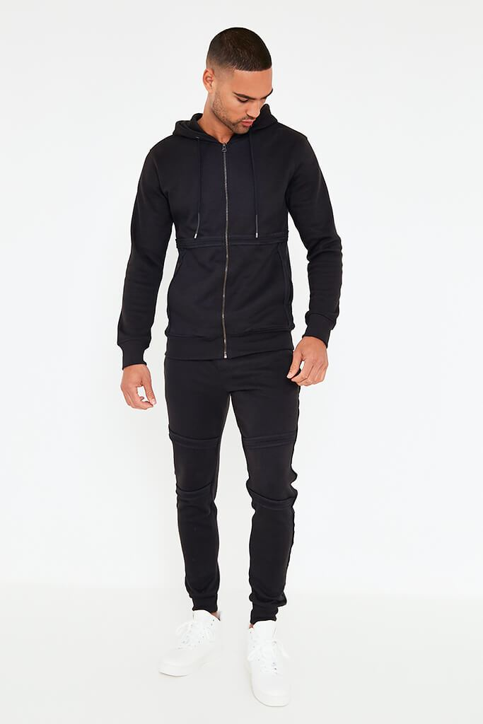 Black Mens Zip Up Hoodie And Joggers Set