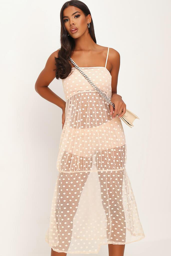 Nude Mesh Polka Dot Midi Dress view 2