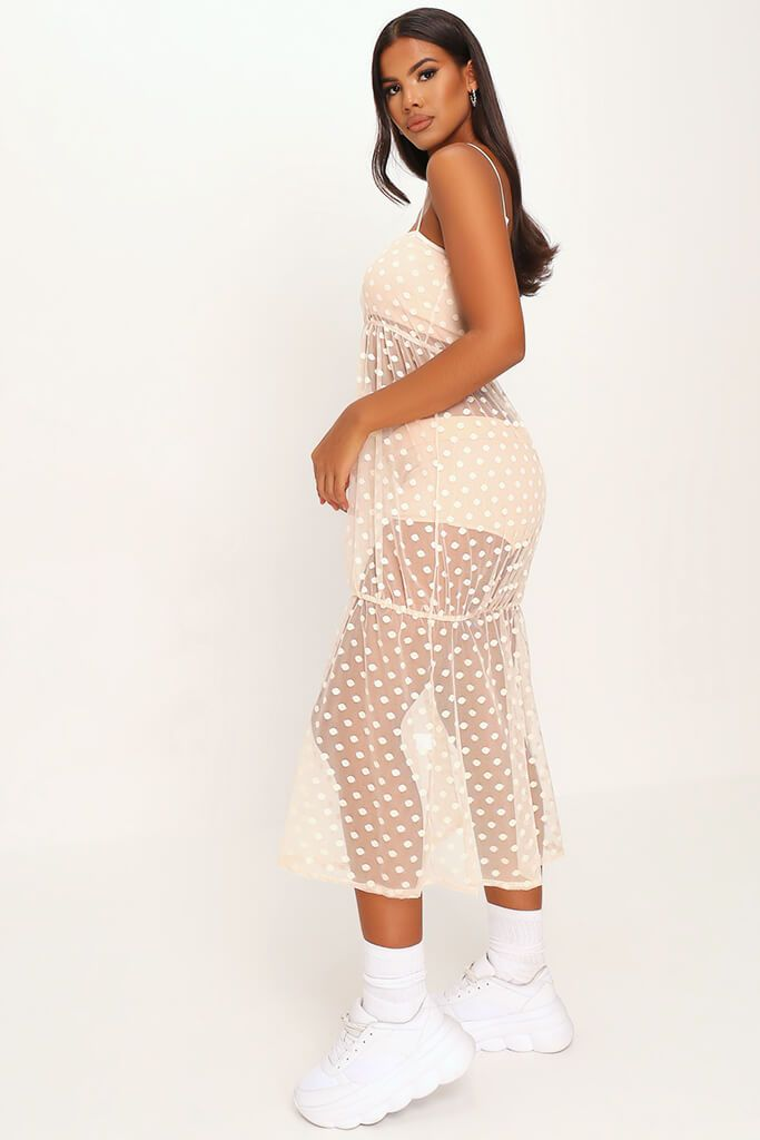 Nude Mesh Polka Dot Midi Dress view 3