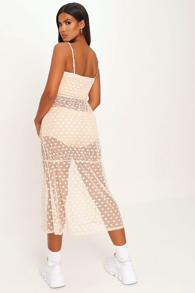 Nude Mesh Polka Dot Midi Dress view 5