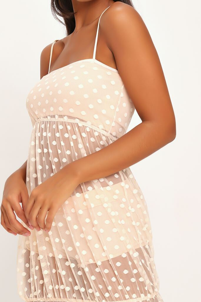Nude Mesh Polka Dot Midi Dress view 4