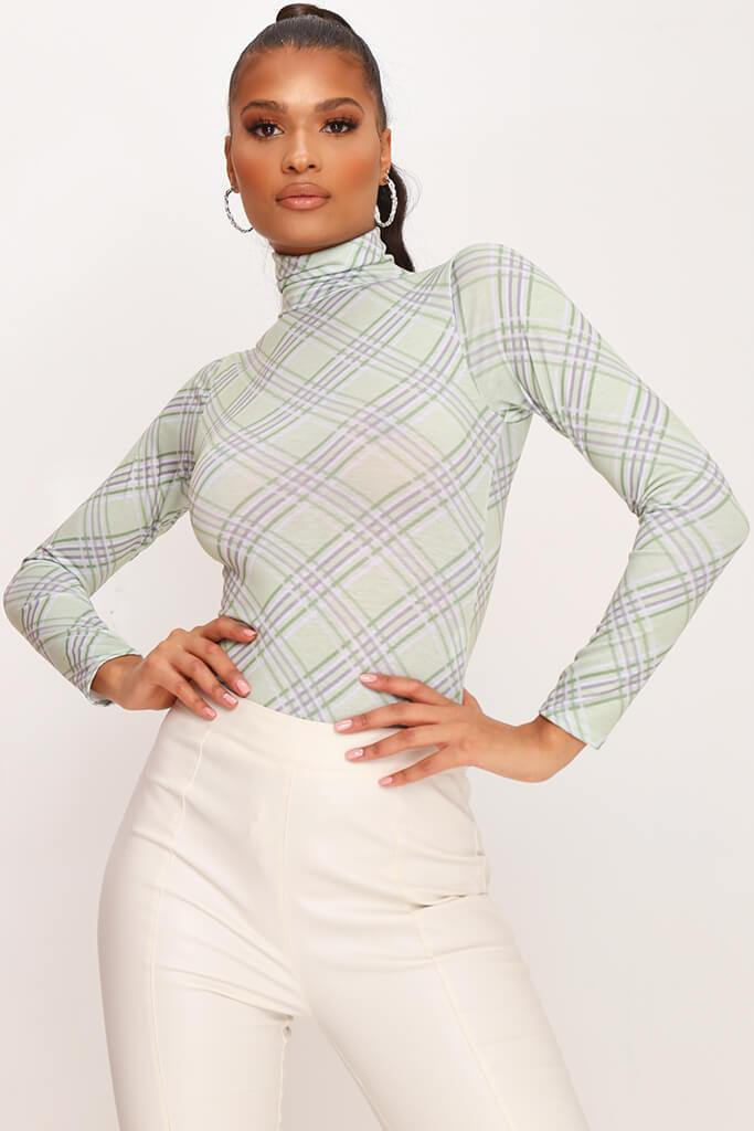 Green Check Long Sleeve Bodysuit
