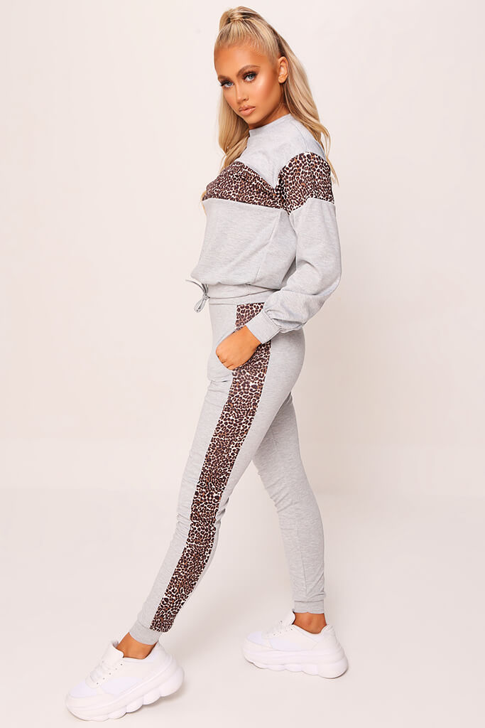 Grey Leopard Print Stripe Loungewear Set view 3