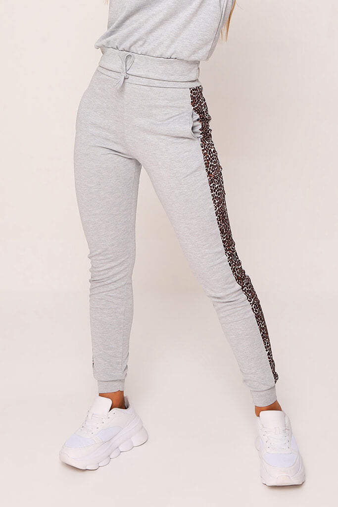 Grey Leopard Print Stripe Loungewear Set view 4