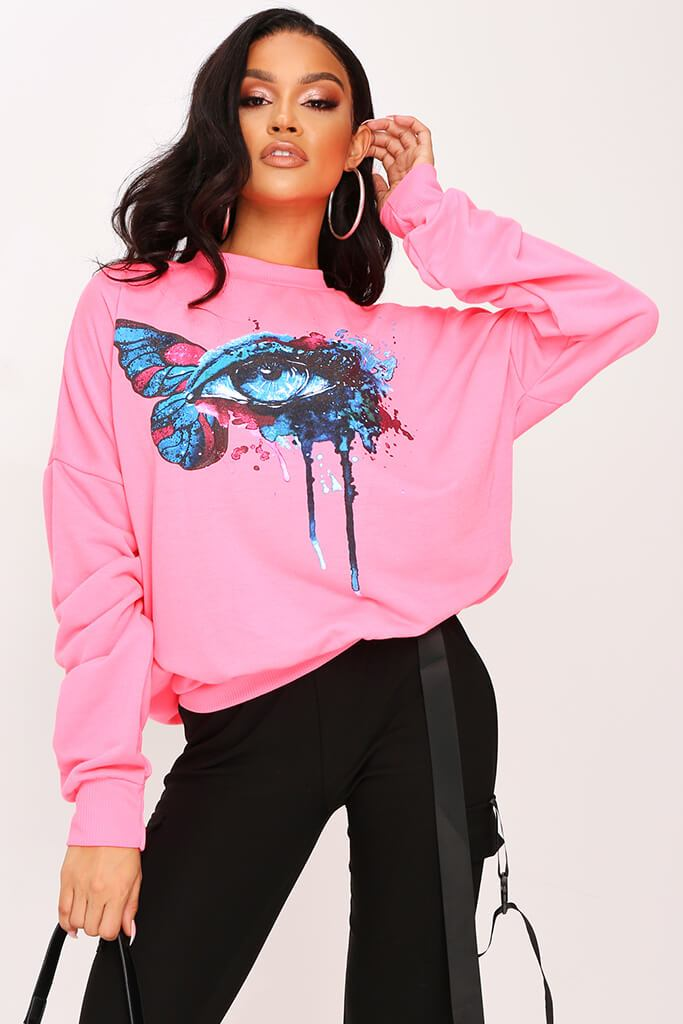 Neon Pink Graphic Sweatshirt