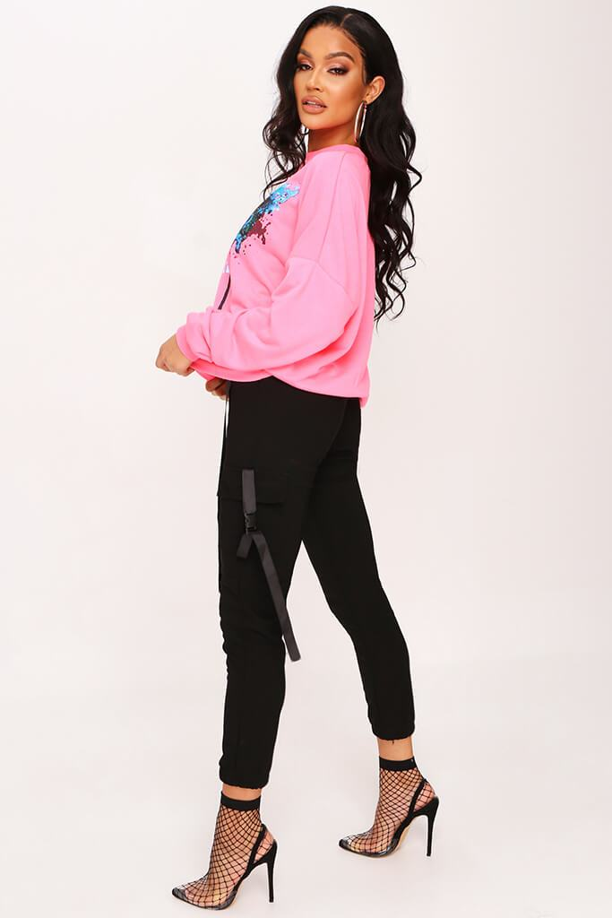 Neon Pink Graphic Sweatshirt view 3