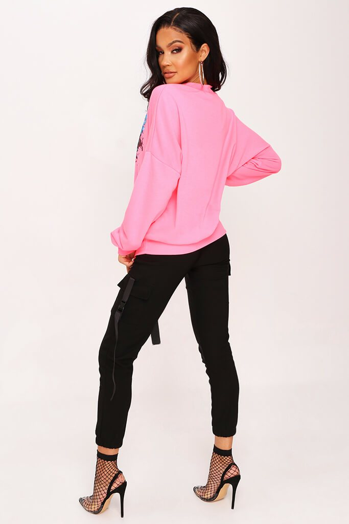 Neon Pink Graphic Sweatshirt view 5