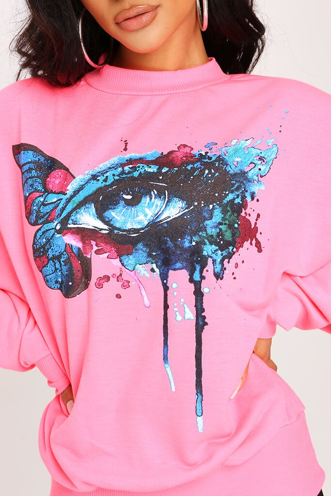 Neon Pink Graphic Sweatshirt view 4