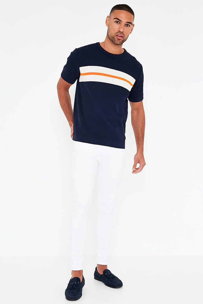 Navy Mens Colour Block Stripe Knitted T-Shirt