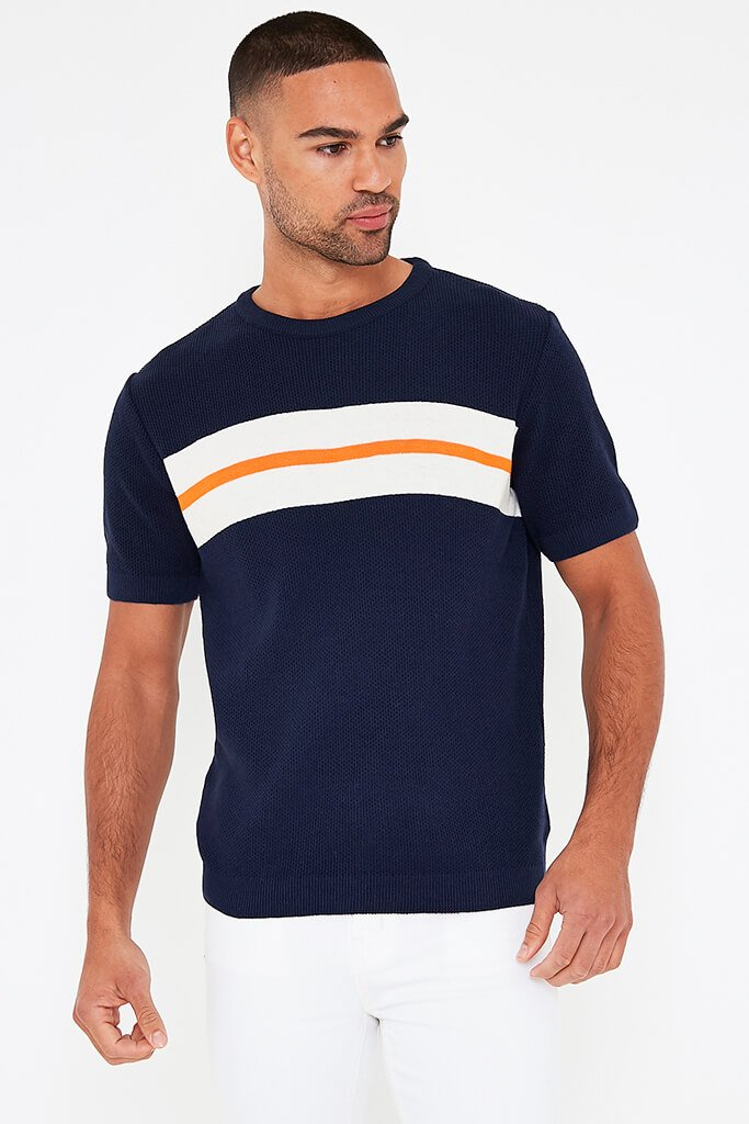 Navy Mens Colour Block Stripe Knitted T-Shirt view 2